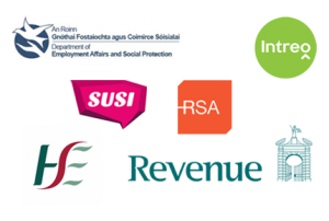 Logos of Department of Social Welfare, Intreo Jobseekers, SUSI, RSA, HSE and Revenue
